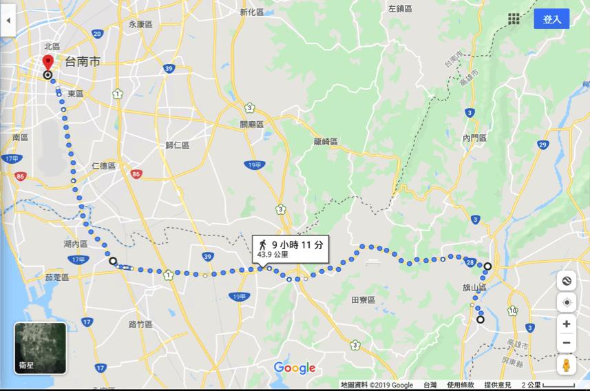 以google地圖模擬頂溪洲庄民至府城路線